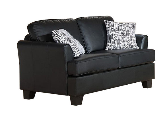 Chantal Loveseat, Black Faux Leather