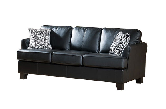 Chantal Sofa, Black Faux Leather