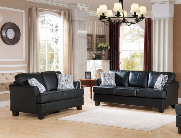 Chantal 2 Piece Living Room Set, Black Faux Leather