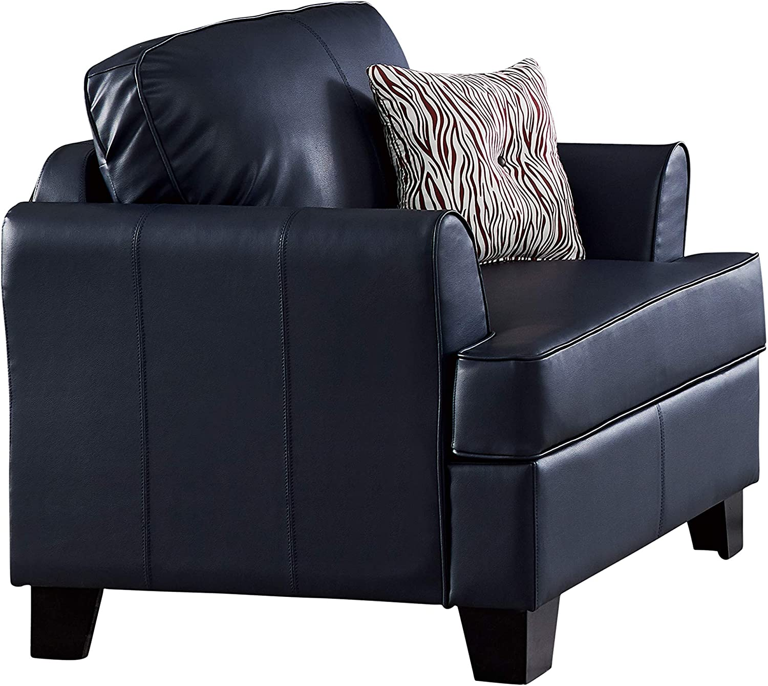 Picture of: Chantal 39 5 Oversized Flared Arm Living Room Chair Couch Upholstered Faux Leather Blue Transitional Pilaster Designs