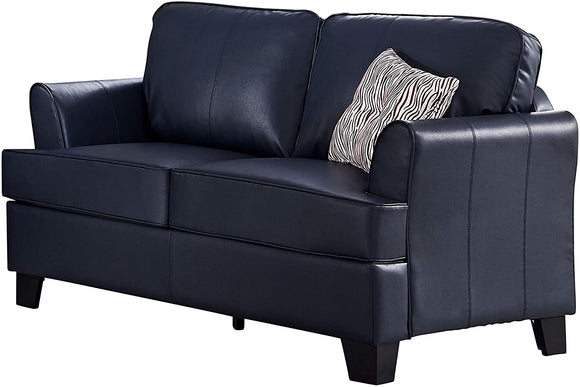 Chantal Loveseat, Blue Faux Leather