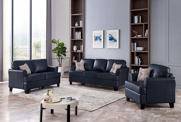 Chantal 3 Piece Living Room Set, Blue Faux Leather