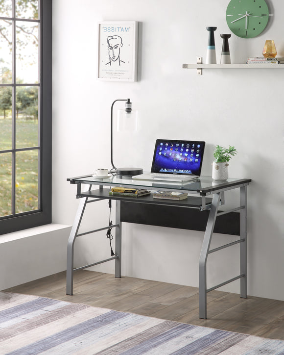 Kendra Desk, Silver Metal & Clear Glass