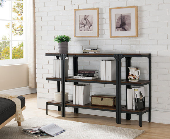 Catalina 3 Tier Bookcase Set, Walnut Wood & Black Metal