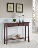 Noah Walnut Wood Contemporary Occasional Entryway Console Sofa Table With Storage Drawers & Shelf - Pilaster Designs