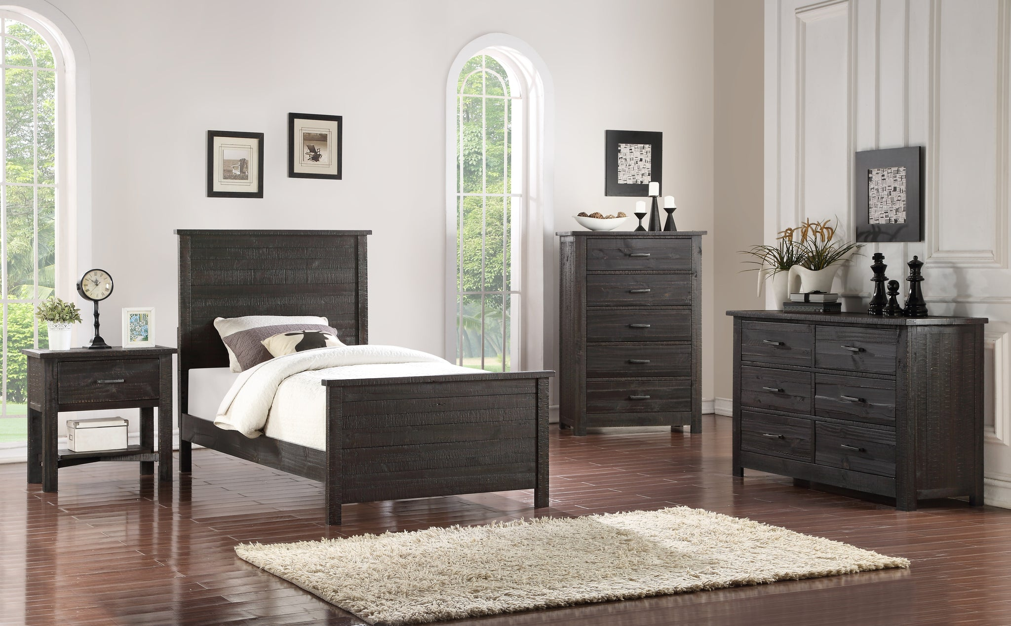 Madison Configurable Bedroom Set Charcoal Wood Pilaster