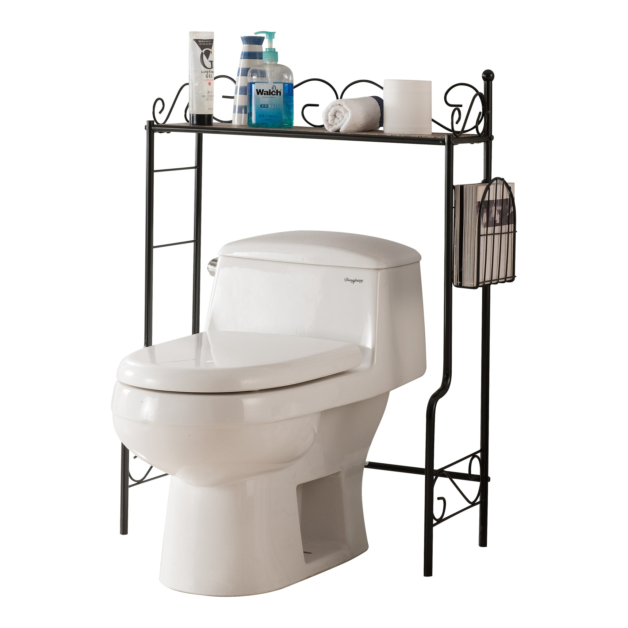 Black or White With Marble Top Metal Bathroom Free Standing Shelf ...