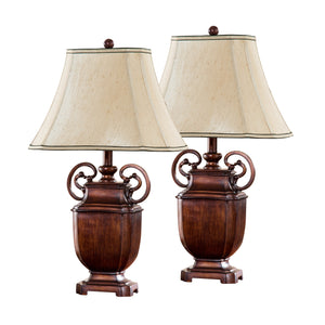 Estella Antique Brushed Red With Light Brown Fabric Rectangle Shade Traditional Bedroom, Bedside, Desk, Bookcase, Living Room Table Lamps (Set Of 2) - Pilaster Designs