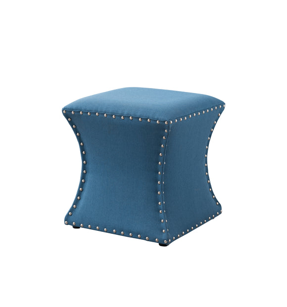 Rylen Ottoman Footstool, Light Blue Fabric