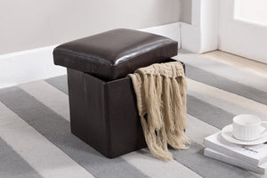 Dark Brown Faux Leather Upholstered Rectangle or Square Foldable Footstool Bench Ottoman With Storage - Pilaster Designs