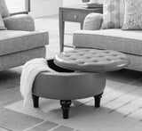 "Cristo 24"" Round Storage Ottoman With Reversible Top - Pilaster Designs"