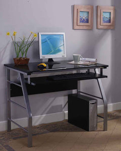 Kendra Black & Silver Metal & Glass Top Home & Office Computer Workstation Desk With Pull-Out Keyboard - Pilaster Designs