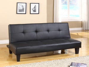 Caila Black Faux Leather Tufted Klick Klak Sofa Futon Sleeper Bed With Adjustable Back - Pilaster Designs
