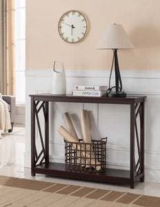 Andrew Dark Cherry Wood Contemporary Occasional Entryway Console Sofa Table With Storage Shelf - Pilaster Designs