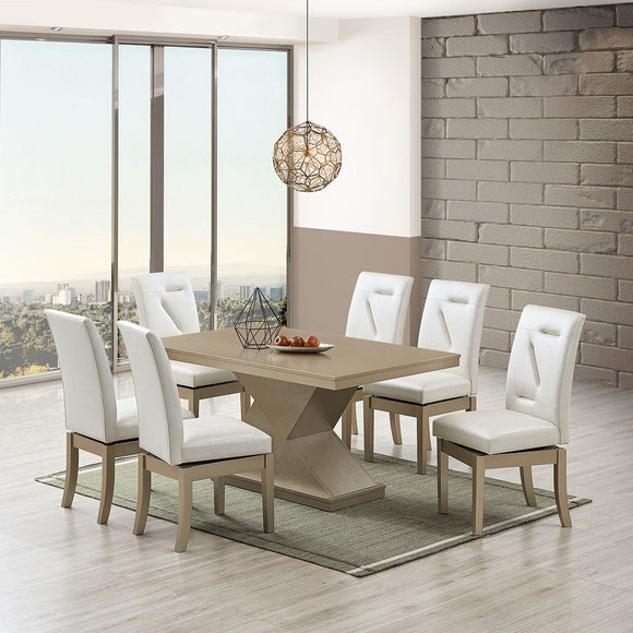 Legault 7 Piece Dining Set, White Vinyl & Gold Wood