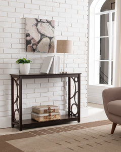 Wyatt Console Table, Dark Cherry Wood