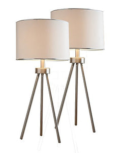 Arden Brush Nickel With White Fabric Drum Shade Contemporary Bedroom, Bedside, Desk, Bookcase, Living Room Table Lamps (Set Of 2) - Pilaster Designs
