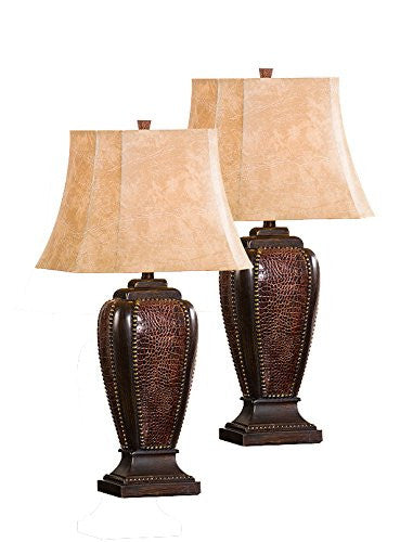Mariyah Brush Red With Light Brown Fabric Rectangle Shade Traditional Bedroom, Bedside, Desk, Bookcase, Living Room Table Lamps (Set Of 2) - Pilaster Designs