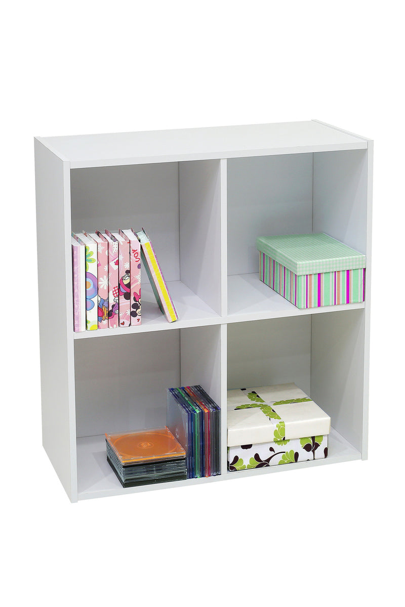 Darrin 4 Cube Bookcase White Wood Pilaster Designs