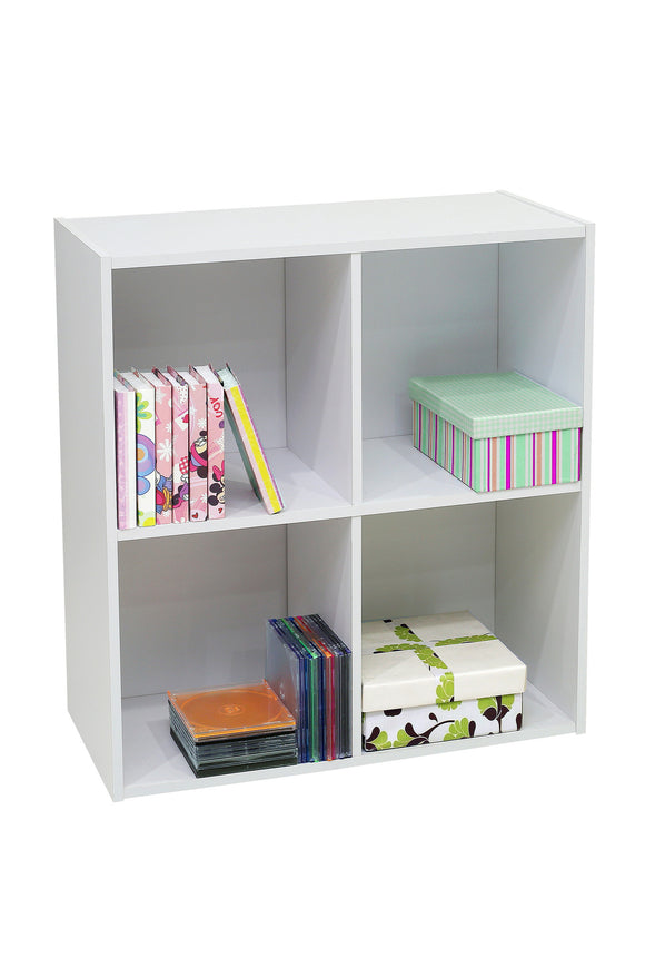 Darrin 4 Cube Bookcase, White Wood