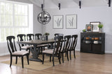 Frates 10 Piece Dining Set, Black & Brown Wood