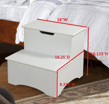 Cherry or White Wood 16-Inch Storage Bedroom Step Stool Organizer - Pilaster Designs