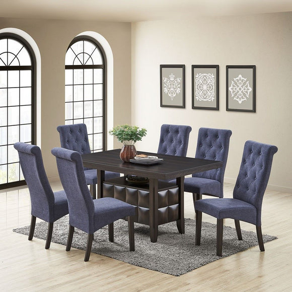 Huxley 7 Piece Dining Set, Black Wood & Blue Fabric