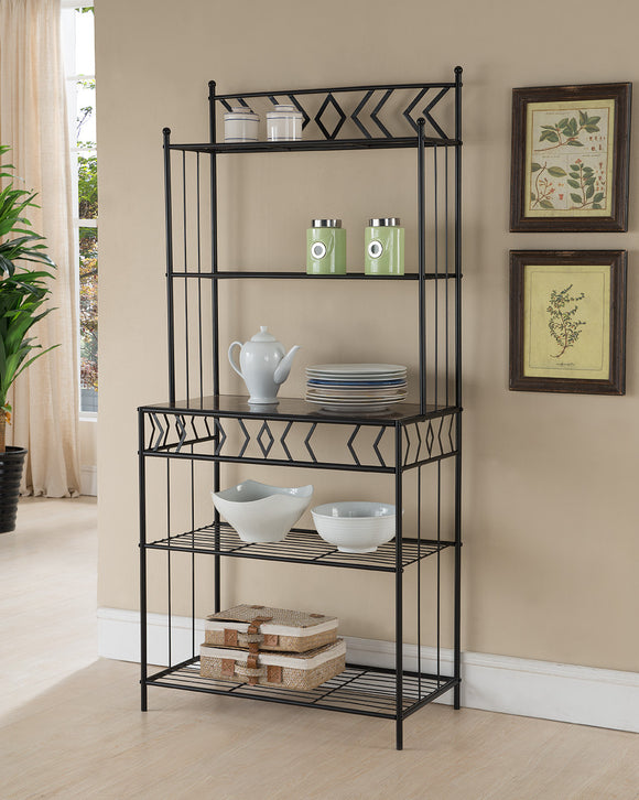 Alice Black Metal & Wood Transitional 5 Tier Kitchen Bakers Rack - Pilaster Designs