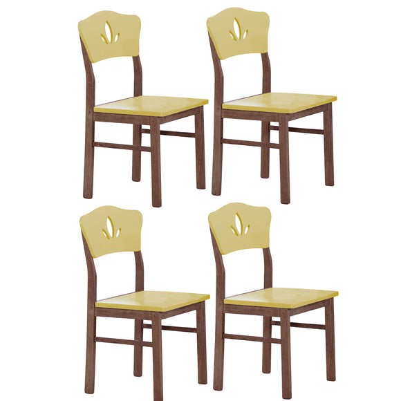Lori Retro Dining Chairs, Yellow & Chocolate Wood