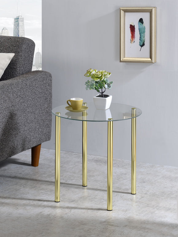 Worcester Round Side Table, Brass Metal & Glass
