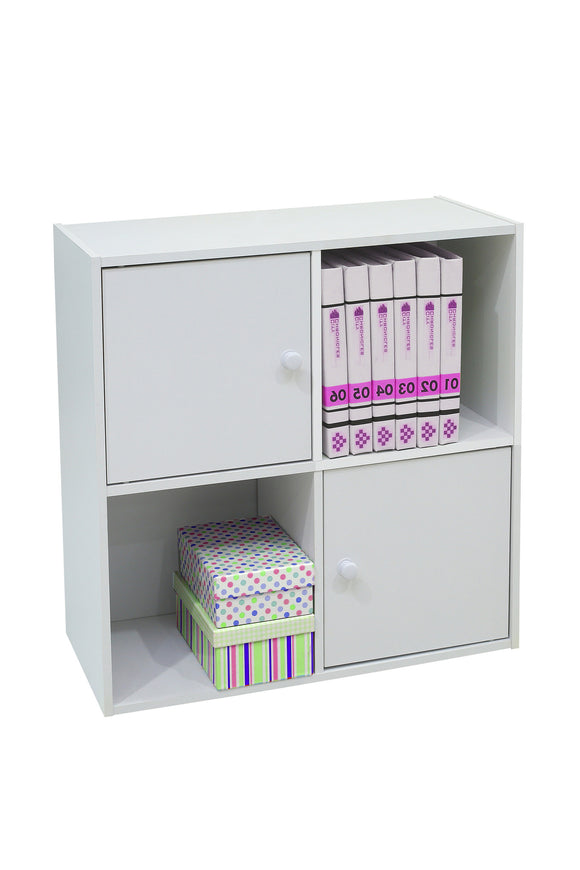 Darrin 2 Cube & 2 Cabinet Bookcase, White Wood