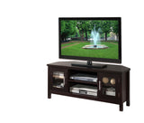 "Elaina 47"" Espresso Wood Contemporary Entertainment Center Media Console TV Stand With Glass Storage Cabinet Doors & Shelves - Pilaster Designs"