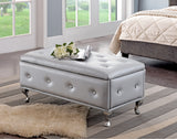 Jane Contemporary Upholstered Storage Ottoman Bench (Multiple Colors) (Wood Frame, Crystal Buttons, Chrome Legs) - Pilaster Designs