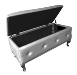 Jane Storage Bench, Silver Faux Leather