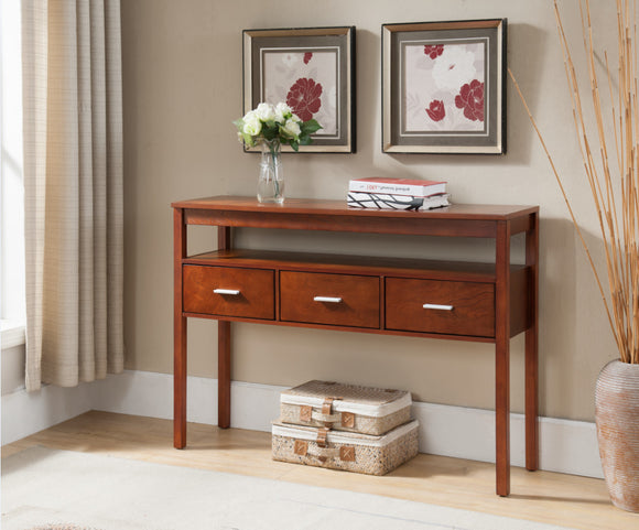 Oliver Walnut Wood Contemporary Occasional Entryway Console Sofa Table With 3 Storage Drawers - Pilaster Designs