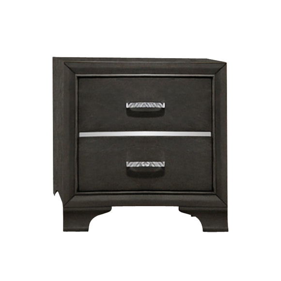Gray & Chrome Wood Modern 2 Drawer Storage Bedroom Nightstand Bedside Table - Pilaster Designs