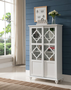 Chase White Wood Contemporary Curio Bookcase Display Storage China Cabinet With Glass Sliding Doors - Pilaster Designs