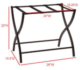 26-Inch Bronze Metal Transitional Folding Luggage Rack Organizer With Nylon Belts - Pilaster Designs