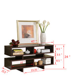 "Elsie 47"" Espresso Wood Transitional Entertainment TV Stand 7 Shelf Storage Bookcase Display - Pilaster Designs"