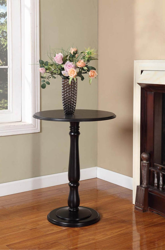 Coby Black Wood 14-Inch Round Accent Side Plant Stand Display Table - Pilaster Designs