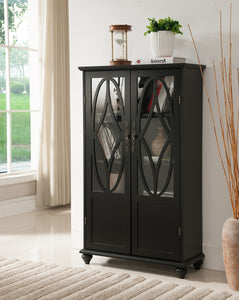 Black Wood Curio Bookcase Display Storage Cabinet With Glass Doors