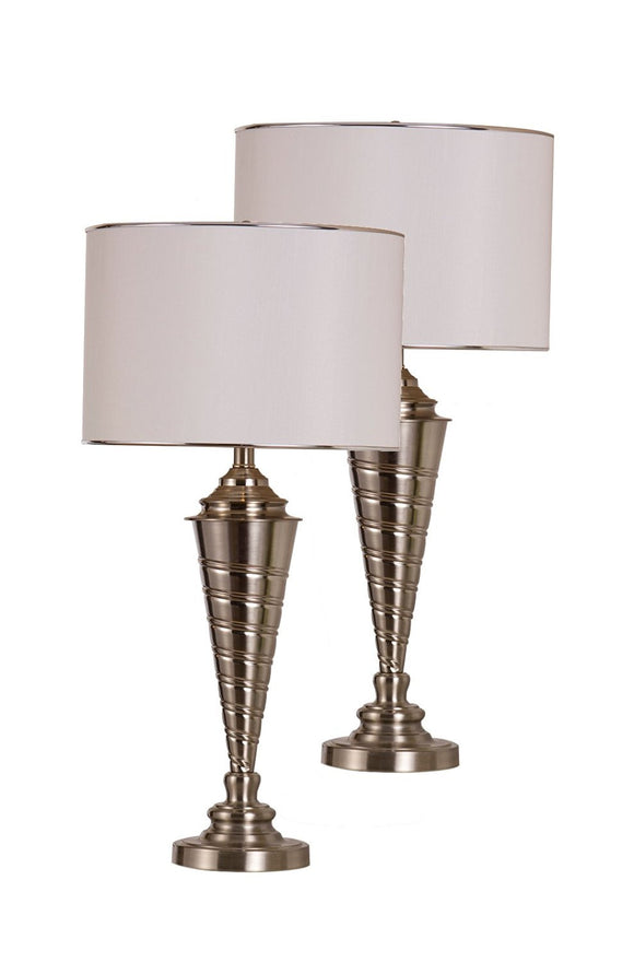 Nathaly Brush Nickel With White Fabric Drum Shade Contemporary Bedroom, Bedside, Desk, Bookcase, Living Room Table Lamps (Set Of 2) - Pilaster Designs