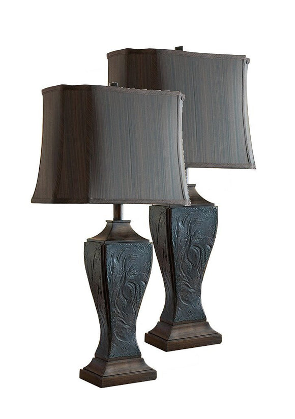 Marisol Copper with Mauve Fabric Rectangle Shade Traditional Bedroom, Bedside, Desk, Bookcase, Living Room Table Lamps (Set Of 2) - Pilaster Designs