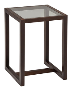 Madge Side Table, Walnut Wood & Frosted Tempered Glass