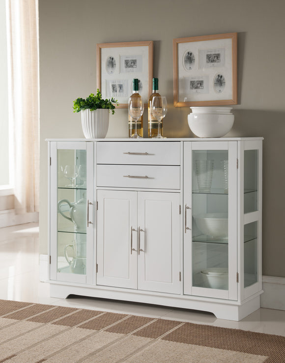 Elias White Wood Contemporary Kitchen Buffet Display China Cabinet With Storage Drawers & Glass Doors - Pilaster Designs
