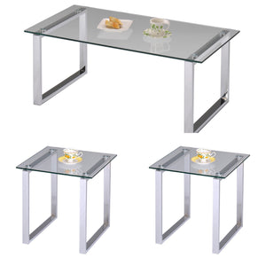 Andi Chrome Metal & Tempered Glass Top Modern Occasional Tables (Optional Coffee & End) - Pilaster Designs