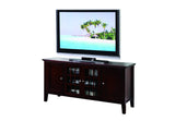 "Alexandria 54"" Dark Cherry Wood Transitional Entertainment Center Media Console TV Stand With Glass Cabinet Doors & Storage Shelves - Pilaster Designs"