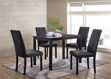 5 Piece Black Wood Rectangle Kitchen Dinette Dining Table & 4 Black or White Upholstered Parsons Side Chairs Set - Pilaster Designs