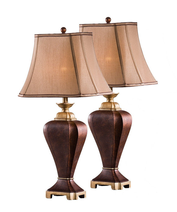 Lyra Coffee With Brown Fabric Rectangle Shade Traditional Bedroom, Bedside, Desk, Bookcase, Living Room Table Lamps (Set Of 2) - Pilaster Designs