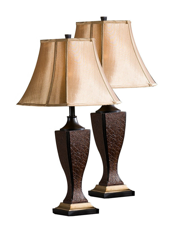 Maren Crackle With Brown Fabric Bell Shade Traditional Bedroom, Bedside, Desk, Bookcase, Living Room Table Lamps (Set Of 2) - Pilaster Designs